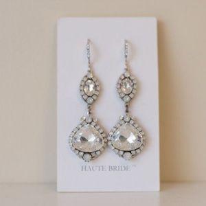 Haute Bride Double Chandelier Silver Earrings